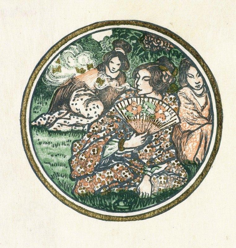 Lucien Pissarro - Drie Japanse vrouwen in een tuin