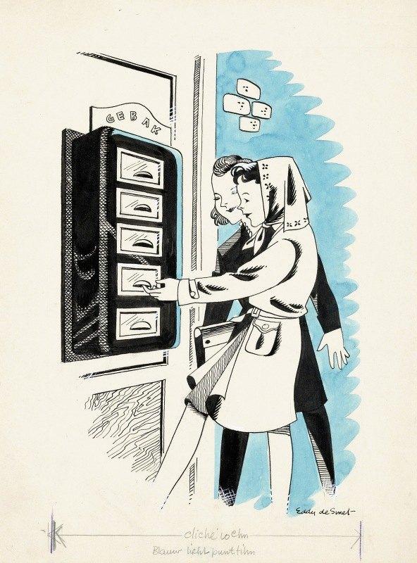Eddy de Smet - Marjo bij een loket met gebak