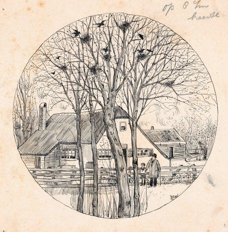 D. Viel - Vader en zoon kijken naar kraai Gerrit in een boom