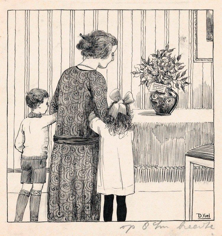 D. Viel - Huib, Zus en Moes kijken naar een boeket met hulst