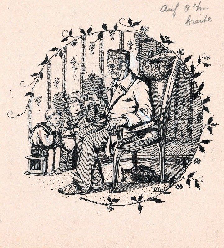 D. Viel - Pijprokende man en twee kinderen