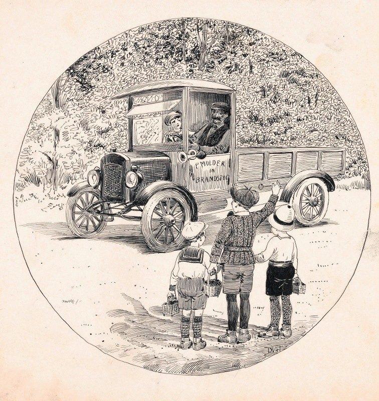 D. Viel - Heintje, Pim en Puck gebaren naar een vrachtauto