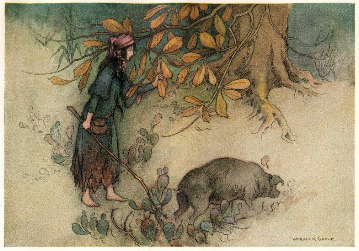 Warwick Goble - Parmetella gathering Golden Leaves