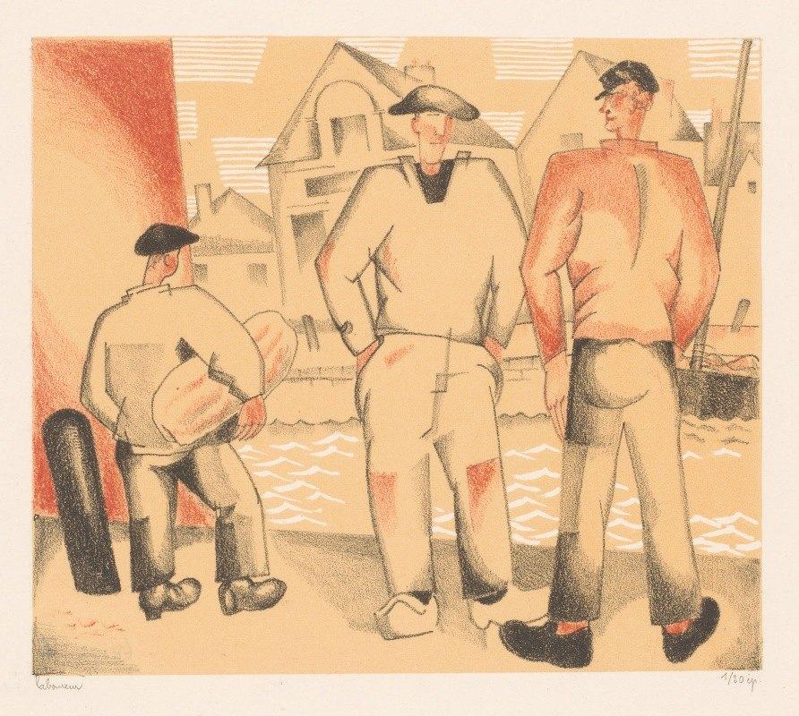 Jean Emile Laboureur - Drie vissers aan de kade
