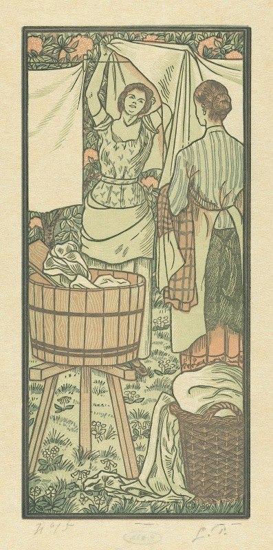 Lucien Pissarro - Het ophangen van de was