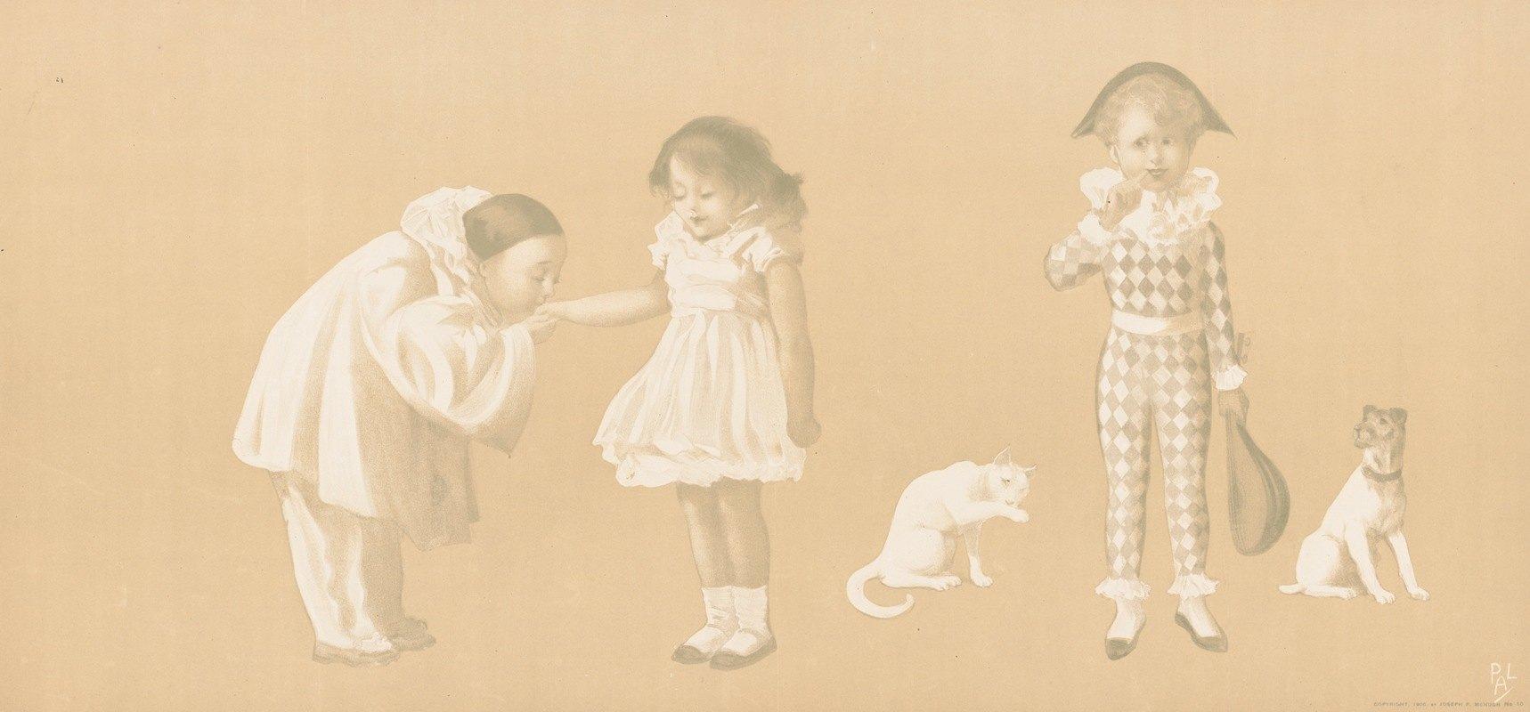 Jean de Paleologue - Clown kissing girls hand