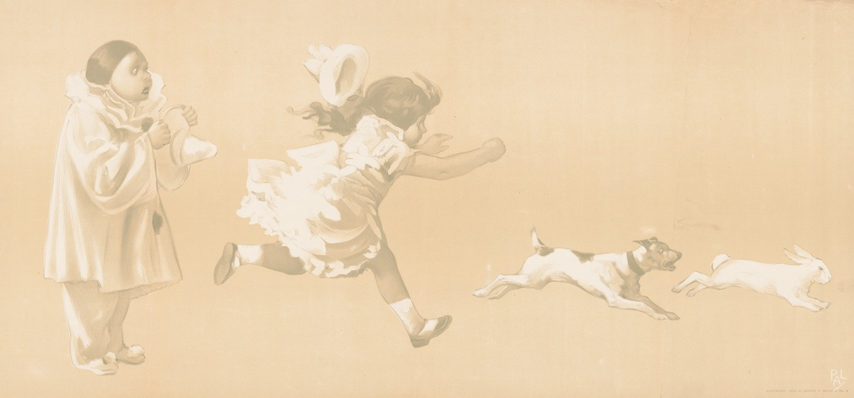 Jean de Paleologue - Girl chasing a dog who is chasing a rabbit while a clown looks on