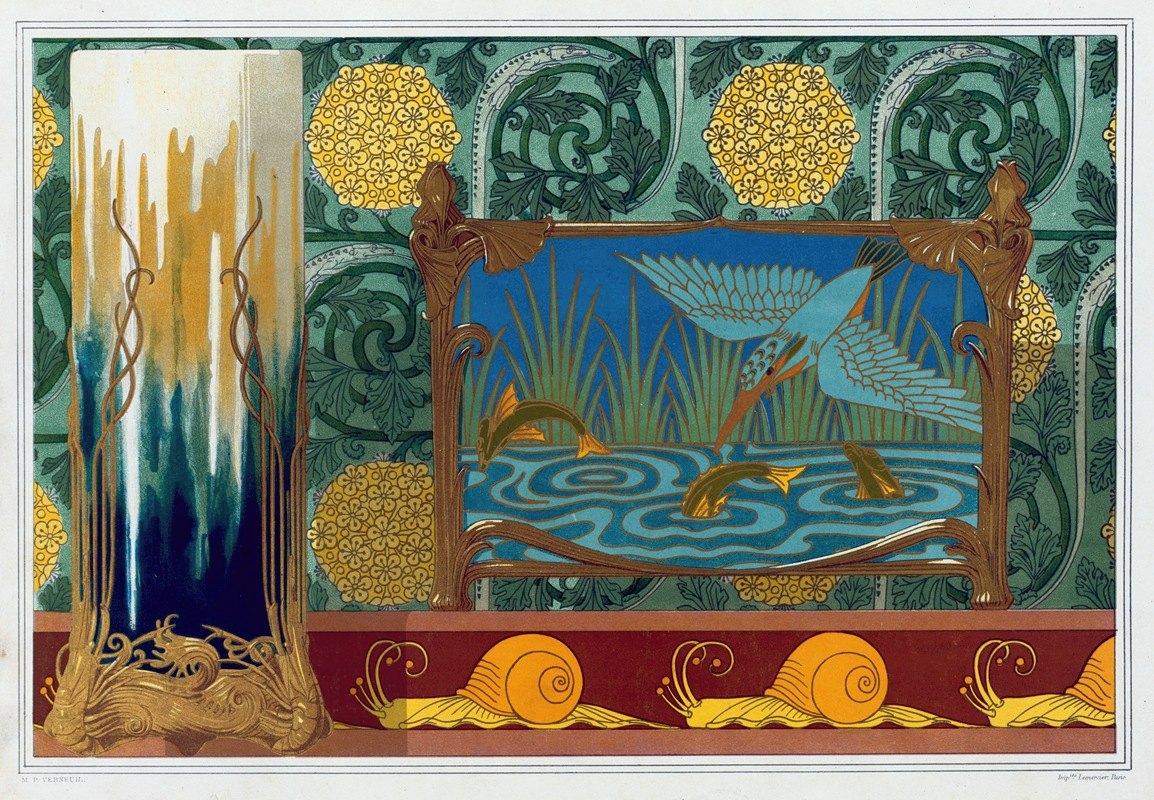 Maurice Pillard Verneuil - Crevettes, support en bronze pour un vase. Martin-pêcheur et poissons, jardinière bronze et émail cloisonné.