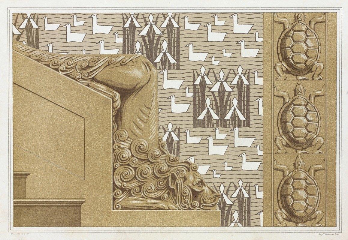 Maurice Pillard Verneuil - Lion, départ de rampe en pierre pour en escalier monumental. Tortues, carreaux grès. Canards et iris, tenture pour chambre d'enfant.