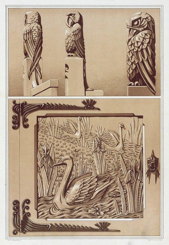 Maurice Pillard Verneuil - Perroquets, aigle, bois sculpté. Cygnes et iris, porte en bois sculpté.