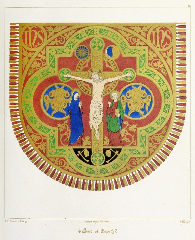 Augustus Pugin - Hood of Cope; The Crucifixion of our Lord, with our Blessed Lady and St. John