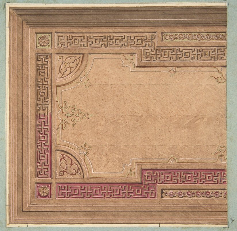 Jules-Edmond-Charles Lachaise - Partial Design for the decoration of a ceiling