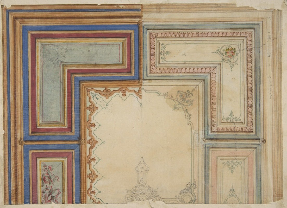 Jules-Edmond-Charles Lachaise - Two alternative designs for the painted decoration of a ceiling