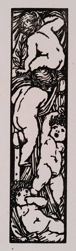 William Morris - Love is Enough – Upright Border or Sidepiece with four Putti