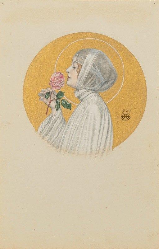 Carlos Schwabe - Jeune femme à la rose