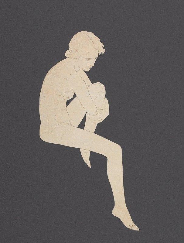 Maxfield Parrish - Seated Nude, preliminary Edison Mazda Lamps calendar
