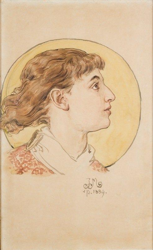 Jan Matejko - Angel's head (portrait of Helena's daughter)