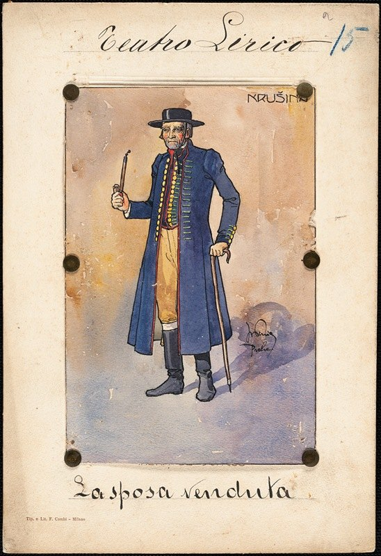 W. Fasienski - A man stands in three-quarter profile holding a cane and a pipe