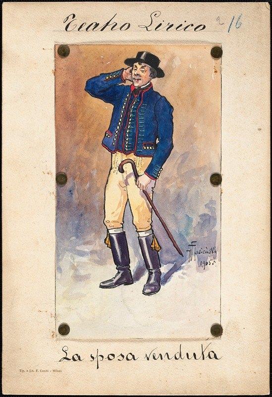 W. Fasienski - A man stands in three-quarter profile holding a cane