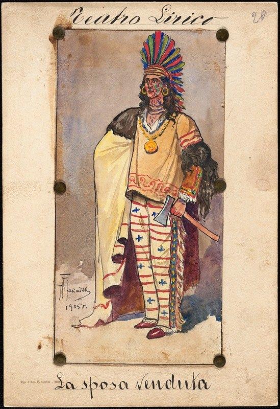 W. Fasienski - A man standse in tribal garb in three-quarter profile