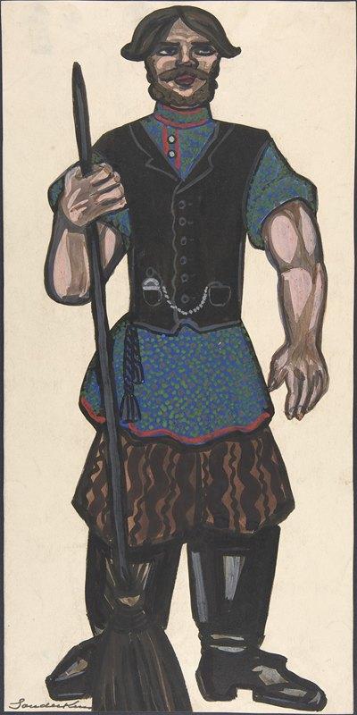 Sergey Yurievich Sudeikin - Peasant holding a broom
