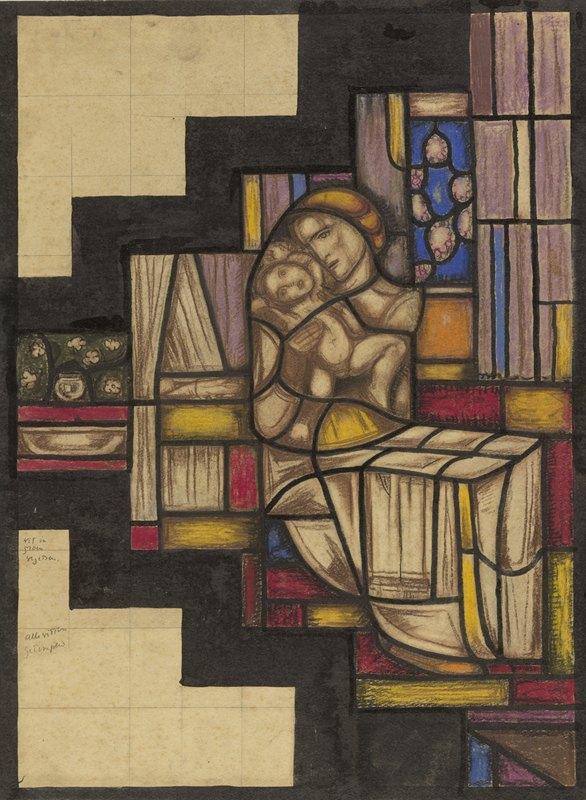 Richard Nicolaüs Roland Holst - Ontwerp voor raam in het Nederlands Paviljoen op de tentoonstelling Arts Décoratifs te Parijs, 1925